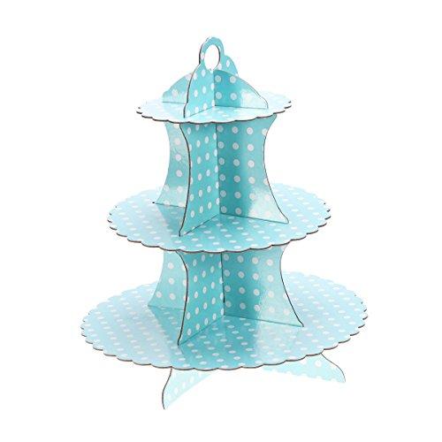 TOYMYTOY Cupcake Ständer,3 stöckig Pappe Blauer Punkt Papier Kuchenständer Kuchen Turm für Babyparty Geburtstags Party Kuchen Nachtisch Halter