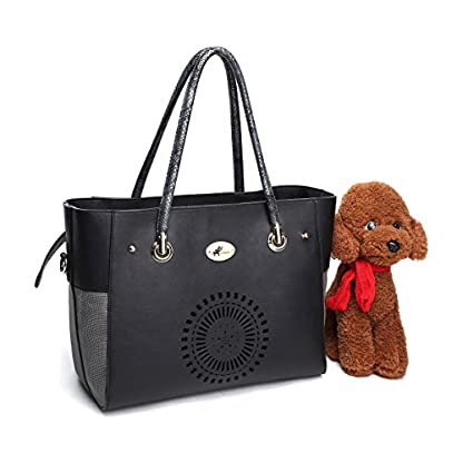 Royal Want Lightweight Leather Pet Carrier Crate with Removable Mat for Dog Cat Rabbit,Handbag and Shoulderbag,Fashion… 1