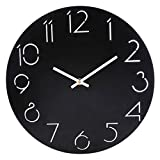 Wanduhr Vintage Lautlos, CT-Tribe 12 Zoll(30cm) MDF Wanduhr Retro Vintage Uhr Ohne Ticken Wall Clock Küchenwanduhr - 2