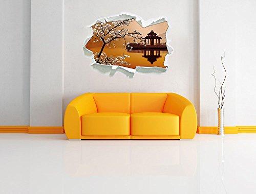 Kirschbaum an Japanischem See , Papier 3D-Wandsticker Wanddekoration 3D-Wandaufkleber Wandtattoo