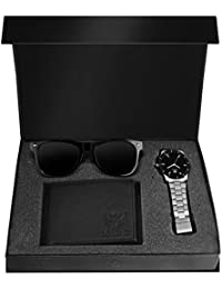 Lorenz Combo Of Black Dial Watch, Wallet And Wayfarer Sunglasses For Men- CM-1066SN-WL-BLK