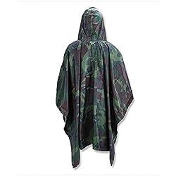 Poncho impermeable para lluvia, multifunción, con capucha, con capucha, para camuflaje del ejército, superligero, con bolsa de transporte para caza, acampada, uso militar, Jungle Bionic Camouflage