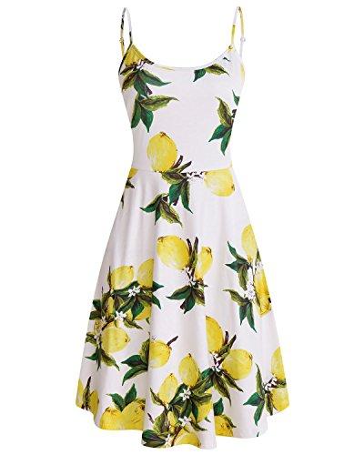 SOLERSUN Skater-Kleid, Frauen ärmellose Kleider Junior Blumendruck-Kleider Shift Flare Polyester Minikleider für Petite Gelb L (Kleider Juniors Arbeit)