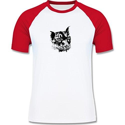 Wildnis - Gepard - zweifarbiges Baseballshirt für Männer Weiß/Rot