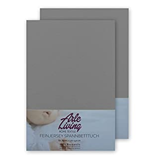 Doppelpack hochwertige Kinder Baby Jersey Spannbettlaken Spannbetttuch 60x120-70x140 cm - 140 g/m² Arle-Living (2x grau/gray/gris)