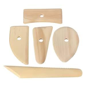 SODIAL(R) Lot 5 Outils pour Poterie Ceramique Modelage Sculpture Gravure Argile Ciseaux Couteau