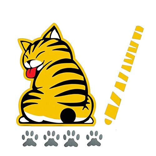 Dadahuam Autoaufkleber, Katze Moving Tail Paws Auto Aufkleber 3D Kreative Cartoon Auto Heckscheibe Fahrzeug Scheibenwischer Aufkleber Styling Dekoration Aufkleber
