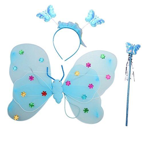 Blaue Glitter Fee Kostüm - Homyl Mädchen Fee Kostüme mit Flügel Stirnband Kinder Fee Prinzessin Kostüm Set Glitter Muster - Blau