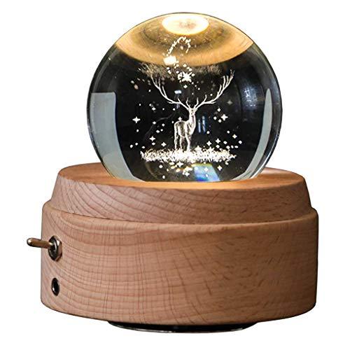 XZANTE 3D Kristall Kugel Spiel Uhr Die Leuchtende Rotierende Spiel Uhr Der Rotwild Mit Projektions Led Licht