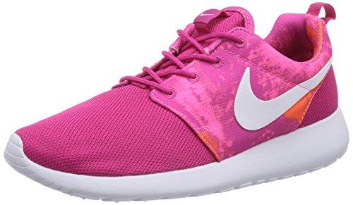 Nike Roshe Run Print, Chaussons Sneaker Femme Rose (Fireberry/White-Pink Powder-Total Orange)