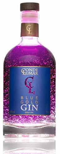 Produktbild bei Amazon - Gin Conde Lumar Blue Gold, 23-Karat-Goldfolie mit Zertifikat vom TÜV Rheinland. Premium Gin aus Brombeeren und schwarzen Früchten, Traditionell hergestellter Premium-Gin, 15 Botanicals, 5-fach destilliert, Spanien mediterranean Gin, 70 cl.
