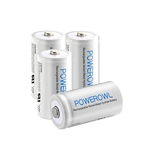 D Batterie Ricaricabili, POWEROWL 10000mAh Ricaricabili Batterie D Ni-MH 1.2V 1200 Cicli (4 Pezzi)