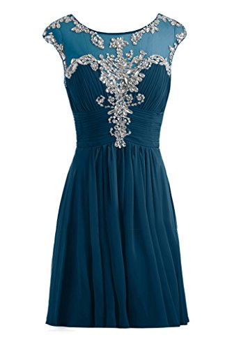Gorgeous Bride Festlich Lang A-Linie Chiffon Tuell Applikation Abendkleider Festkleider Ballkleider Inkblau-Kurz