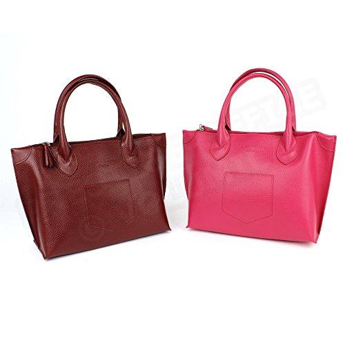 Sac à main M - Marie cuir Fabrication Luxe Française Rouge Bordeaux