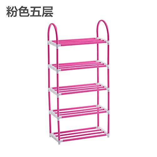 AAPP SHOP Etage 4-Layer einfache Kunststoff Schuhschrank kreative Demontage Kombination Multi-Layer Schuh Storage Rack Montage Schuhregal Regal, 5-Schicht rosa (4 Etage Halloween)