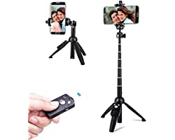 WORLDMOM Selfie Stick Tripod with Wireless Remote Control 40 Inch Extendable, Compatible with Samsung Galaxy S20 S8 S9 S10 No