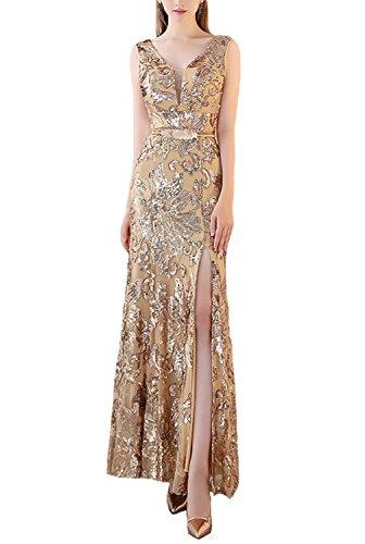 Fanhao Frauen V-Ausschnitt Golden Pailletten mit Gürtel Meerjungfrau Split Long Abendkleid, M