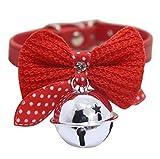 Barlingrock 1 Stücke Hund Welpen Halsbänder, Einfarbig PU Leder Schöne Halsketten, Einstellbare Kintted Bowknot Halsbänder mit Glocke für Hunde