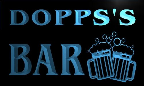 w093108-b-dopps-name-home-bar-pub-beer-mugs-cheers-neon-light-sign