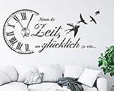 tjapalo® s-pkm473 Wanduhr Wandtattoo Uhr Wohnzimmer Wandsticker Spruch - Nimm dir Zeit um Glücklich zu sein mit Uhrwerk und Kristallen