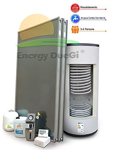 Este sistema solar térmico de Energy DueGi permite utilizar el sol para calentar su hogar y para la producción instantánea de agua sanitaria para una familia compuesta por 3-4 personas. El termoacumulación combinado presente en este sistema permite i...