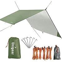 Unigear Zeltplane, Tarp für Hängematte, mit Ösen + 6 Erdnägel+ 6 Seilen, Regenschutz Sonnenschutz für Camping Ourdoor, wasserdicht