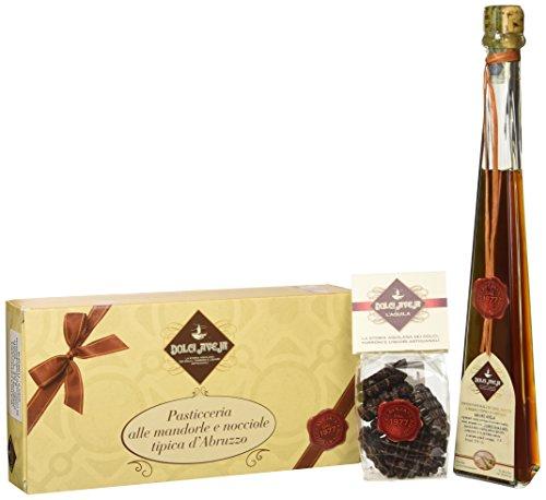 Cesto regalo con pasticceria mista alle mandorle 400g - amaro 20cl - cioccalatini fondenti 100g - in confezione regalo - cesto natalizio, idea regalo, degustazione prodotti tipici