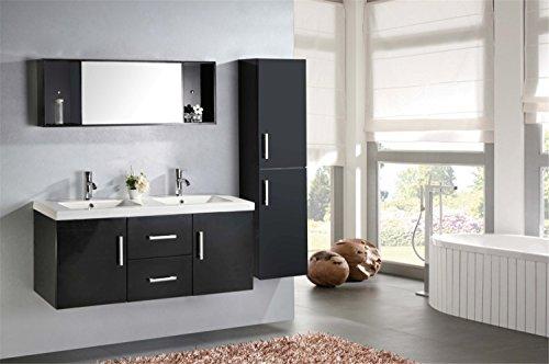 Mobile bagno + colonna completo modello malibu 120 cm doppio lavabo rubinetti inclusi