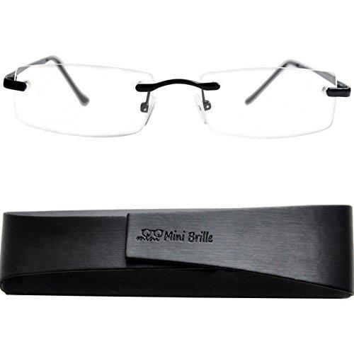 Lesebrille randlos mit rechteckigen Gläsern - mit GRATIS Etui | Edelstahl Rahmen (Schwarz) | Lesehilfe für Damen und Herren von Mini Brille|+2.0 Dioptrien