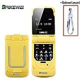 Baikewei 3 in 1 Mini telefono bluetooth dialer Il più piccolo telefono cellulare con commutatore vocale sbloccato Micro SIM Telefono boss in plastica LUNGO CZ J9 (Yellow)