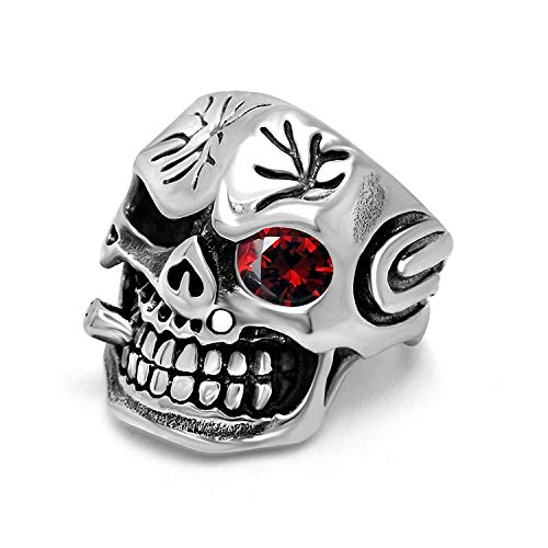 XDBMK Vintage Smoking Pirates Skull Glasses Gothic Biker Classic Stainless Steel Rings for Mens -