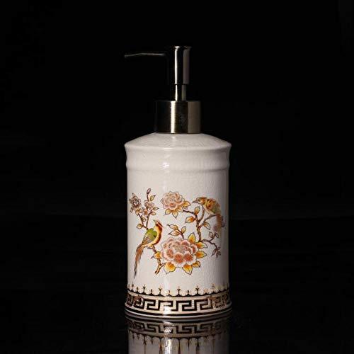 an Ice Crack Keramik Handdesinfektionsmittel Flasche Pfingstrose Vogel Vintage Lotion Flasche Drücken Sie Die Düse Seifenspender Beauty Salon Klubhaus Waschbeckenamerican Ice Cra ()