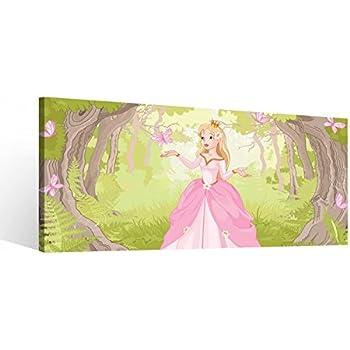 Amazon.de: Leinwandbild 3 Tlg Prinzessin Märchen KInderzimmer Wald ...