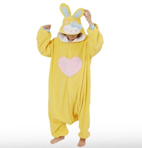 Japan Sazac Original Kigurumi Pajamas Halloween Costumes Sanrio Hello Kitty Colorful Bunny Yellow (japan import)