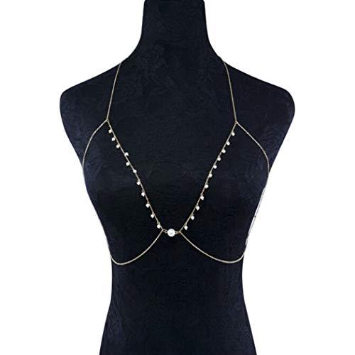 Yean Sexy Body Chain mit Perle Strand Quaste Bikini Kette BH Ketten für Frauen und Mädchen (Perle) - Perlen-bh