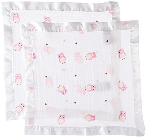 Lulujo Muslin Security Blankets (Pink Owls, 2-Piece)