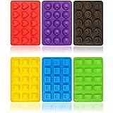 COM-FOUR® 6x Silikon Formen für Pralinen, Verschiedene Pralinenformen für jeweils 15 Pralinen oder Eiswürfel (06 Stück - Praline Muster 2 + 3)