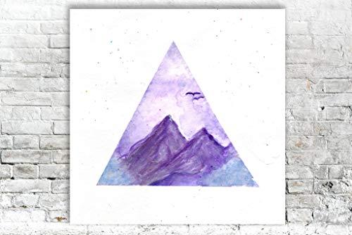 Original Aquarell Berge Malerei Wandkunst Kunstwerk Kunst Illustration Berg Landschaft -