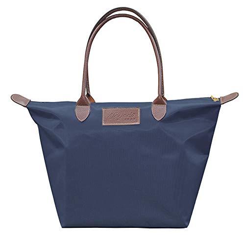 Ssowun Shopper Handtasche Damen,Nylon Shopper Tasche Wasserdichte Faltbare Schultertaschen Kleine Mittlere Größe für Einkaufen Strand Reise EINWEG verpackung -