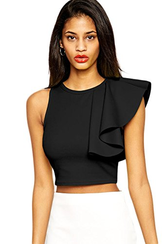 nuevas-senoras-negro-un-hombro-ruffle-top-club-wear-tops-casual-wear-ropa-tamano-m-uk-10-12-eu-38-40