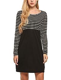 Parabler Damen Shirt-Kleid Blumen Langarm Shirt Casual Rundhals Langshirt  Pullover Minikleid mit Tasche c13ed9239d