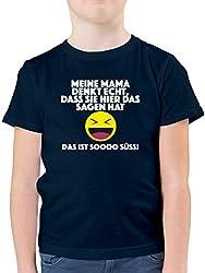 Sprüche Kind - Emoticon - Meine Mama Denkt echt, DASS sie Hier das Sagen hat. Das ist Soooo süß! - 152 (12/13 Jahre) - Dunkelblau - F130K - Kinder Tshirts und T-Shirt für Jungen