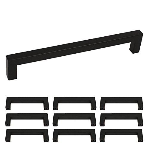Maniglia per mobili in acciaio inox, LSJ12BK, ad asta, per cucina, armadio,  cassetto, maniglia quadrata, colore nero.