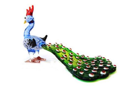 LampworkSAMMLERSTÜCKKleinkunstMUNDGEBLASENEGlasPeacocklangenSchwanz(blau)Figur (Frosch-figuren Sammlerstücke)