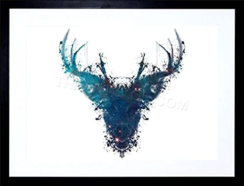 INK SPLAT DEER STAG FRAME + MOUNT PICTURE POSTER ART