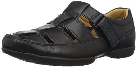 Clarks Recline Open 20349642 Herren Slip On, schwarz (Black Leather), 43 EU