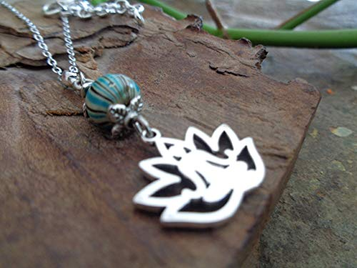 ✿ YOGA LOTUSBLÜTEN KETTE ✿ Lotus Kette & melierte türkis-braune Holzperle Opale Spiral