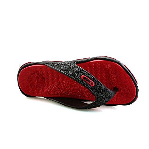 Sommer Ultralight Flip Flops Pantoletten Outdoor Freizeit Urlaub Zehentrenner Hausschuhe Massage Rutschfest Sohle Slipper Herren jungen Rot