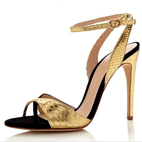 GHFJDO Schuhe Damen Pleaser Heels Open Toe Sandalen, Spitze Cross Strap High Heels, Leichte Stöckelschuhe,Gold,35EU
