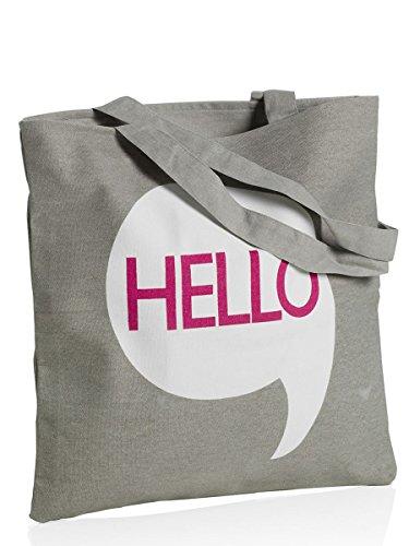 """MONTEMAGGI Borsa in cotone grigio con manici lunghi con scritta """"hello"""". Dotata di cerniera. Dimensioni: 42x1x43 cm bianco e grigio"""